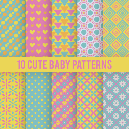 Illustration pour 10 Retro baby vector seamless patterns. Endless texture for wallpaper, fill, web page background, surface texture. Set of bright geometric ornament. Red, orange and blue shabby colors. - image libre de droit