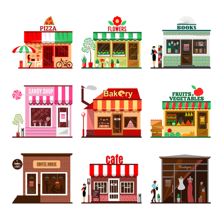 Cool set of detailed flat design city public buildings. Restaurants and shops facade icons. Pizza, flowers, books, candy shop, bakery, fruits and vegetables, coffee house, cafe and boutique. Vector