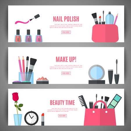 Illustration for Set of beauty make up banner design. Cosmetic accessories for make-up. Cosmetology and SPA. Vector illustration for promotional booklets, brochures, banner, leaflets. Flat style - Royalty Free Image
