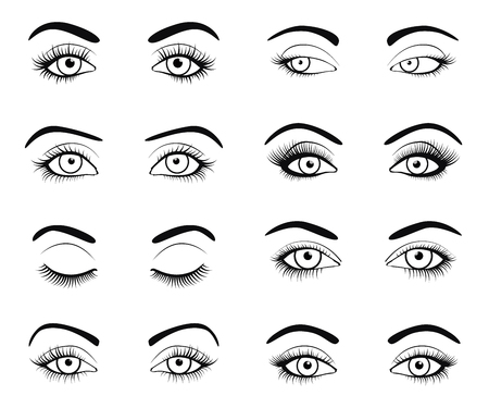 Set of female eyes and brows image with beautifully fashion eyelashes. Vector illustration for health glamour design. Black and white colors. Close and open woman eyes.