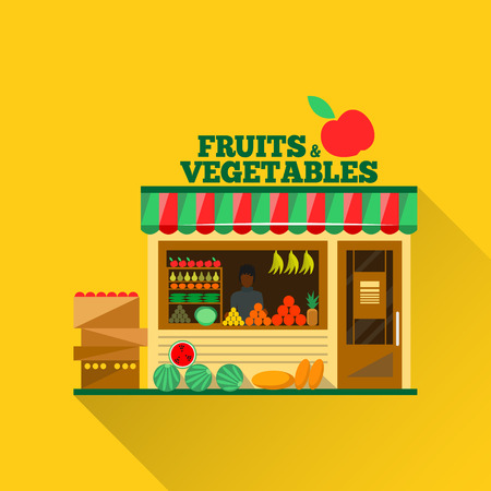Foto de Fruits and vegetables shop. Man silhouette in a shop window. Green grocery stall. Food shop vector illustration. Banana, apple, orange, lime, pumpkin. Promotion of healthy eating concept. - Imagen libre de derechos