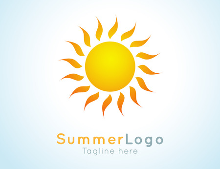 Illustration for Vector summer label. Summer logo icon. Sunny design element. Background design for banner, poster, flyer, cover, brochure. Sunrise and sunset. Bright nature graphic. - Royalty Free Image