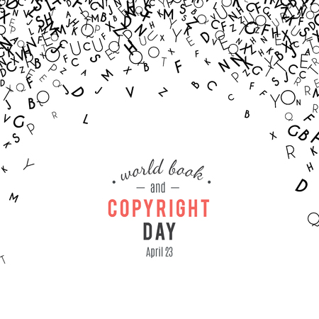 Ilustración de Abstract black alphabet ornament border isolated on white background. Vector illustration for education, writing, poetic design. Random letters fall from top. World book and copyright day - Imagen libre de derechos