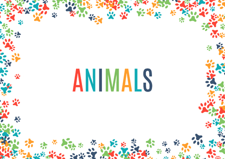 Illustration for Colorful animal footprint ornament border isolated on white background. Vector illustration for animal design. Random foot print horizontal frame. Many bright trail. Cute paw trace. World wildlife day - Royalty Free Image