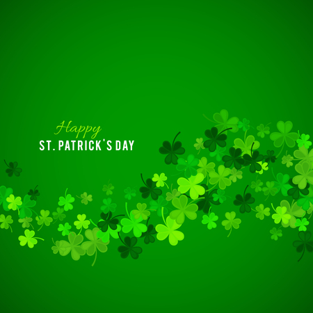 Illustration pour St Patrick's Day background. Vector illustration for lucky spring design with shamrock. Green clover wave border isolated on green background. Ireland symbol pattern. Irish header for web site. - image libre de droit