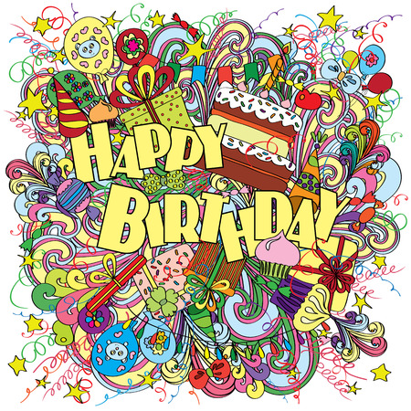 Ilustración de Happy Birthday greeting card on background with celebration elements. Fun, bright and original birthday greeting made in the doodle style. Gifts, cakes and candies. Cheerful poster. - Imagen libre de derechos