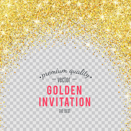 Gold glitter texture isolated on transparent background.