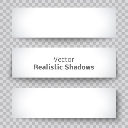 Set of blank banner sheet of paper with shadow material design element for advertising and promotional isolated on transparent background.