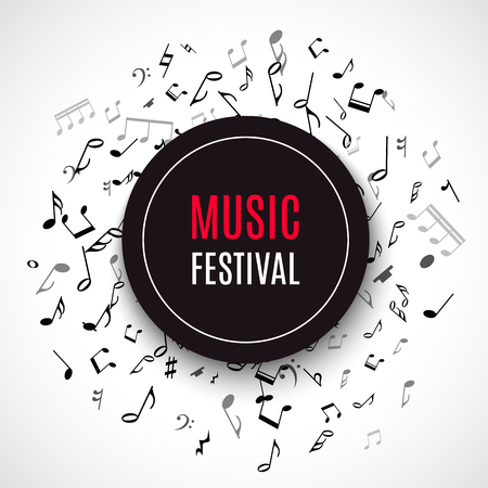 Illustration pour Abstract musical concert flyer with black notes on white background. Vector Illustration for music design. Modern pop  concept art melody banner. Sound key decoration with music symbol sign. - image libre de droit