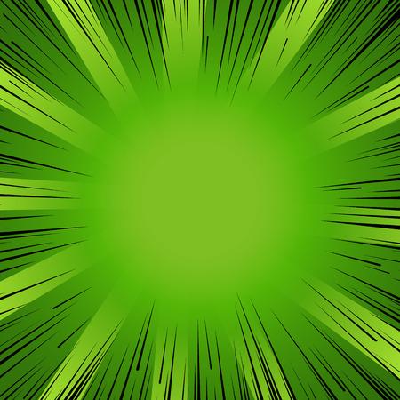 Ilustración de Abstract comic book flash explosion radial lines background. Vector illustration for nature design. Bright black green light strip burst. Flash ray blast glow Manga cartoon hero eco spring print - Imagen libre de derechos