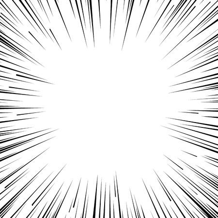 Ilustración de Abstract comic book flash explosion radial lines background. Vector illustration for superhero design. Bright black white light strip burst. Flash ray blast glow. Manga cartoon hero fight print stamp - Imagen libre de derechos