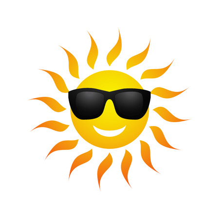 Ilustración de Cute yellow sun symbol in sunglasses isolated on white background. Vector illustration for summer design. Cartoon happy sunny icon art. Hot spring expression. Fun sunlight character. - Imagen libre de derechos