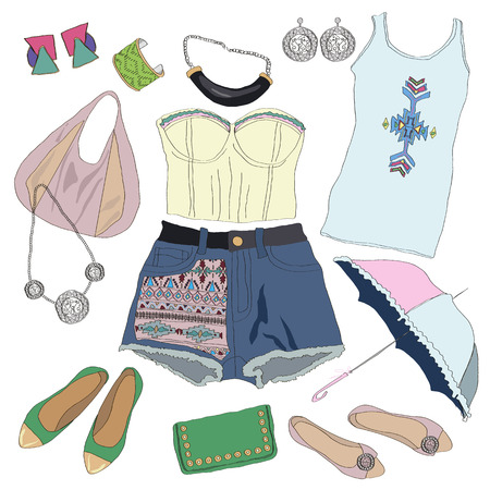 f0dad123ff Tribal clothes collection for young women girl. Vector illustration fashion  design. Cute pretty summer