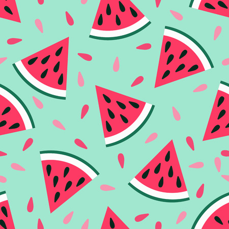Illustration for Cute seamless watermelon pattern on blue background. Vector illustration for sweet summer fruit design. Slice fresh food ornament. Pretty repeat wallpaper. Bright tasty cartoon decoration - Royalty Free Image