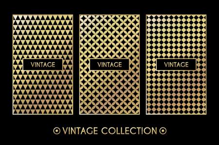 8f52a29b67b Golden vintage pattern on black background. Vector illustration for retro  design. Gold abstract frame