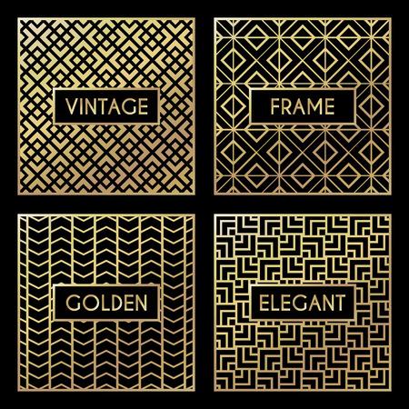 Illustration pour Golden vintage pattern on black background. Vector illustration for retro design. Gold abstract frame. Label set. Elegant luxury foil - image libre de droit