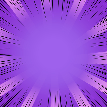 Illustration pour Abstract comic book flash bright purple explosion radial lines background. Vector illustration for superhero design. Light strip burst. Flash ray blast glow Manga cartoon hero fight cute print - image libre de droit