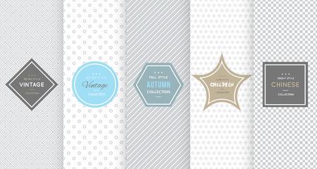 Photo pour Light grey seamless pattern background. Vector illustration for elegant design. Abstract geometric frame. Stylish decorative label set. Fashion universal background. - image libre de droit