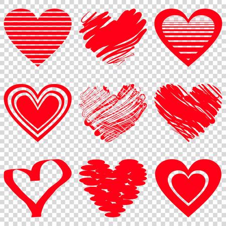 Ilustración de Red heart icons. Vector illustration for happy valentines day holiday design. Romantic shape heart symbol. Love sign graphics. Hand drawning element. Sketch doodle hearts - Imagen libre de derechos