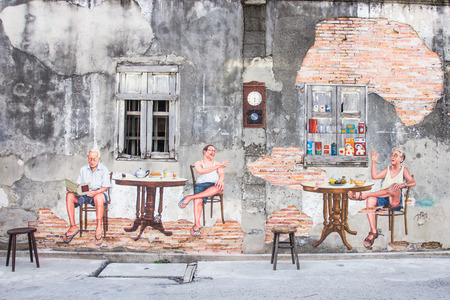 SONGKHLA, THAILAND- JUN05, 2015: General view of a mural street art on wall in Songkhla province, Thailand