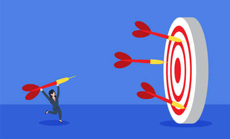 Illustration pour Businesswoman throwing a dart to a dartboard with many fail darts around. The creative concept idea of reaching business target goal or learning from failure. Simple trendy cute vector illustration. - image libre de droit