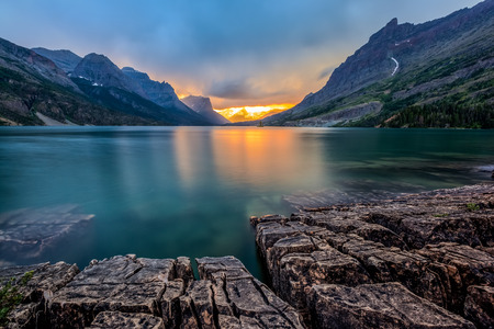 Sunset at St  Mary Lake, Glacier national park, MT