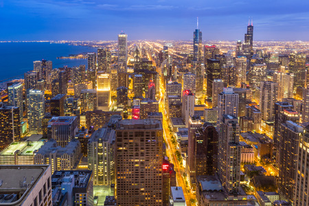 Aerial view of Chicago downtown skyline at night