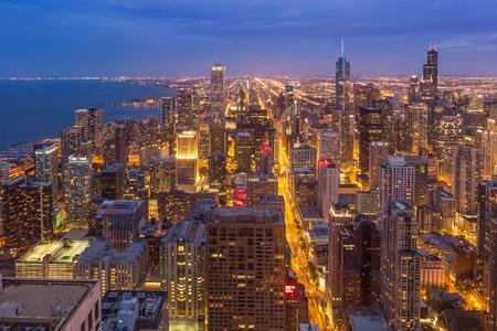 Chicago downtown skyline at night Illinois