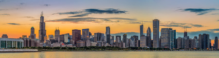 Chicago downtown skyline and lake michigan at sunset Illinois