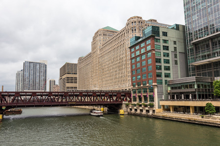 Metro Train on bridge over Chicago river.