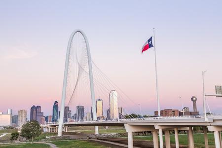 Dallas downtown skyline with Margaret hut hills bridge.