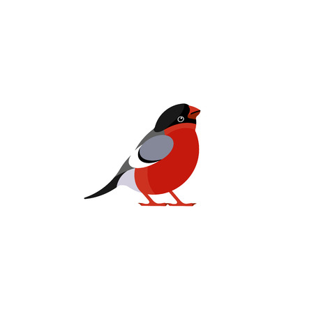 Illustration pour Icon of bullfinch. Character for Christmas and New Year greeting card. Vector. - image libre de droit