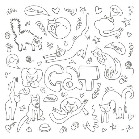 Illustration for Hand drawn vector illustrations of cats characters. Flat style. Doodle  with lettering Cat - Royalty Free Image