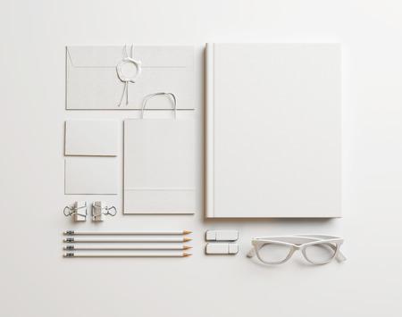 Set of blank identity elements. 3D rendering