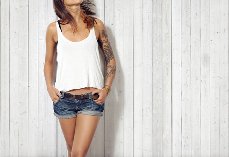 Woman wearing blank sleeveless t-shirt