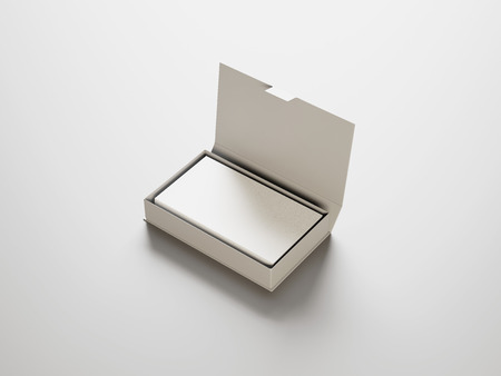 White business cards in the white box
