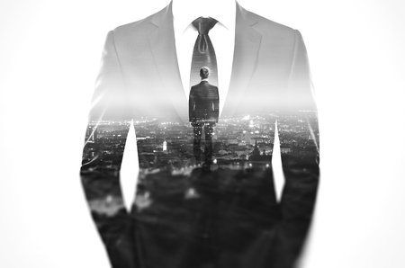 Double exposure concept with businessman wearing modern suit