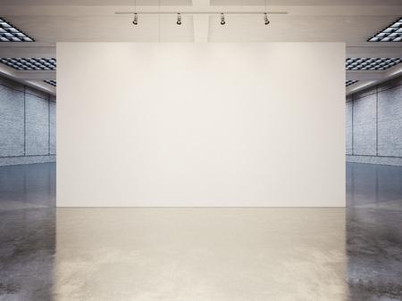 Photo pour Mock up of empty white gallery interior with white canvas - image libre de droit