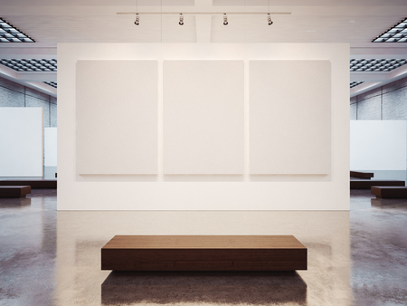 Photo pour Mock up of empty white gallery interior with white canvas - image libre de droit