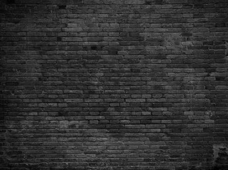 Photo pour Part of black painted brick wall, horizontal - image libre de droit