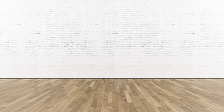 Part of white painted brick wall with wooden floor, horizontal.