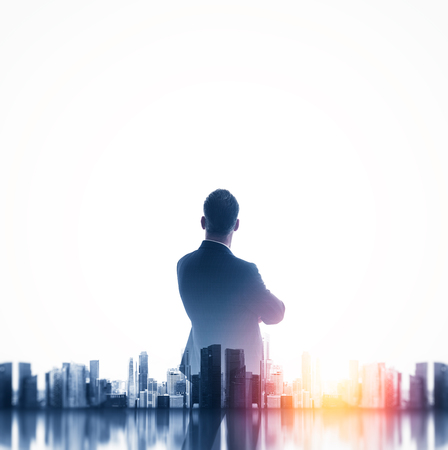 Photo for Buesinessman wearing classic suit and looking cityscape. Double exposure. Square - Royalty Free Image