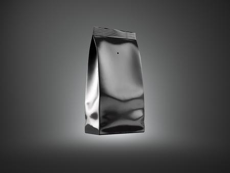 Photo pour Black foil package for bulk products, coffee, nuts. Dark background. Horizontal - image libre de droit