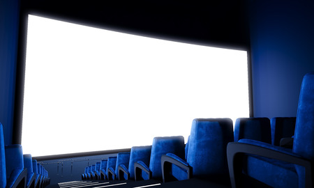 Photo pour Empty cinema screen with blue seats. Ready for adding your for advertisement. Wide - image libre de droit