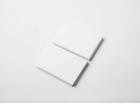 Photo pour Two stack of blank and white business cards on white background with soft shadows.  Horizontal - image libre de droit