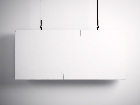 Photo pour Photo of blank vintage canvas hanging on the white background. - image libre de droit
