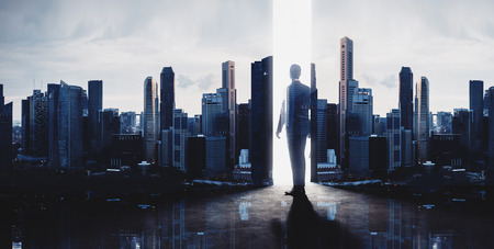 Photo for Concept of businessman. Double exposure photo of panoramic city view at sunrise - Royalty Free Image