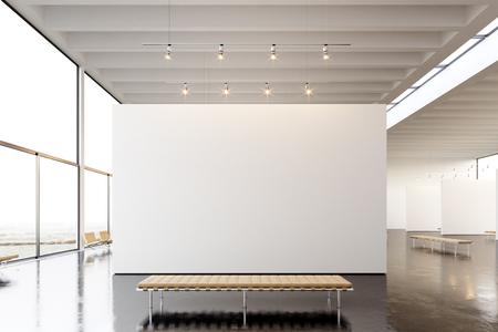 Foto de Picture exposition modern gallery,open space.Blank white empty canvas hanging contemporary art museum. Interior loft style with concrete floor,light spots and generic design furniture. - Imagen libre de derechos
