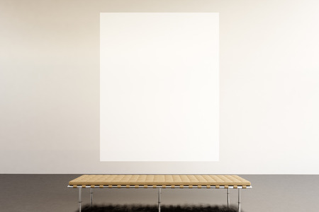 Foto de Photo exhibition space modern gallery.Huge white empty canvas hanging contemporary art museum.Interior loft style with concrete floor. Picture generic design furniture and building. - Imagen libre de derechos