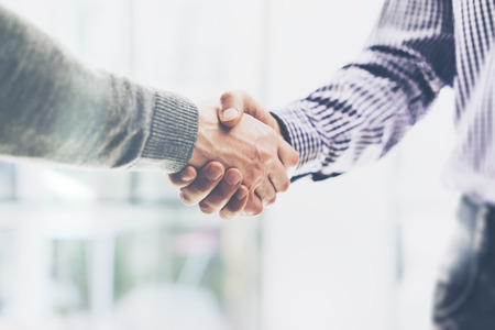 Photo pour Business partnership meeting concept. Image businessmans handshake. Successful businessmen handshaking after good deal. Horizontal, blurred - image libre de droit